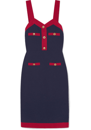 Gucci - Grosgrain-trimmed Wool-blend Dress - Navy