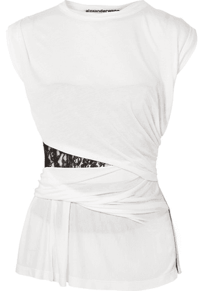 Alexander Wang - Lace-insert Gathered Modal Top - White
