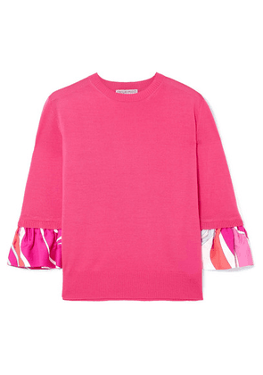 Emilio Pucci - Printed Silk-trimmed Wool Sweater - Pink