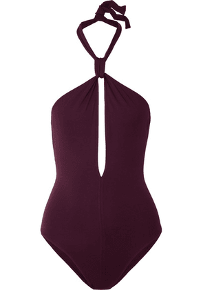 Eres - Poker Score Cutout Halterneck Swimsuit - Grape