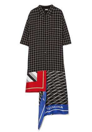 Balenciaga - Asymmetric Patchwork Checked Poplin And Silk-twill Dress - Black