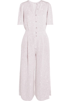 Temperley London - Olina Cropped Sequined Tulle Jumpsuit - White
