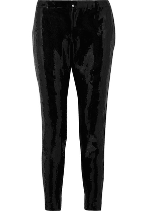 Saint Laurent - Sequined Crepe Skinny Pants - Black