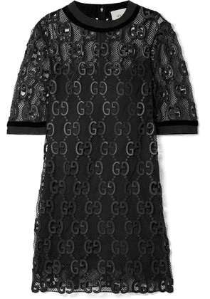 Gucci - Velvet And Grosgrain-trimmed Macramé Mini Dress - Black