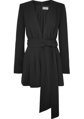 SAINT LAURENT - Belted Crepe Playsuit - Black