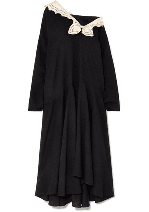 Gucci - Oversized Silk-trimmed Crepe Midi Dress - Black