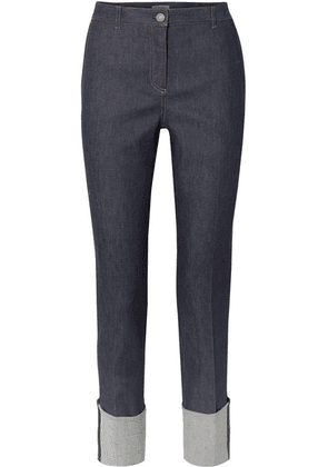 Bottega Veneta - Leather-trimmed High-rise Straight-leg Jeans - Dark denim