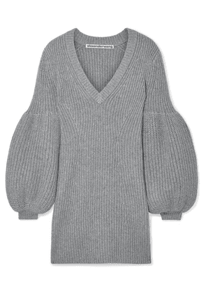Alexander Wang - Cable-knit Wool-blend Mini Dress - Gray