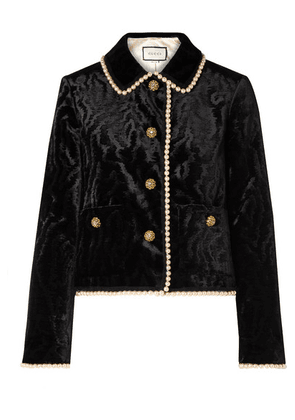 Gucci - Faux Pearl And Swarovski Crystal-embellished Devoré-velvet Jacket - Black