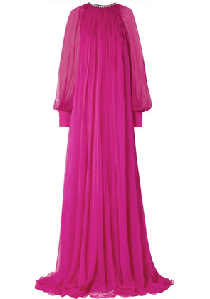 Gucci - Gathered Crystal-embellished Silk-chiffon Gown - Magenta
