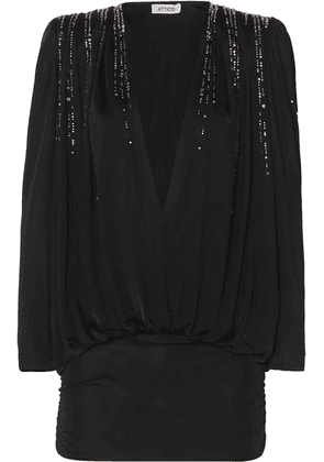 Attico - Crystal-embellished Ruched Jersey Mini Dress - Black