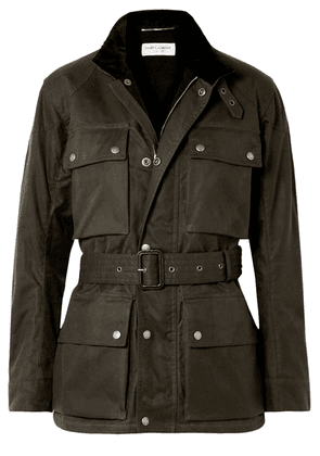 Saint Laurent - Belted Waxed Cotton-canvas Jacket - Army green