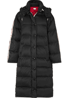 Gucci - Oversized Intarsia-trimmed Quilted Shell Down Coat - Black