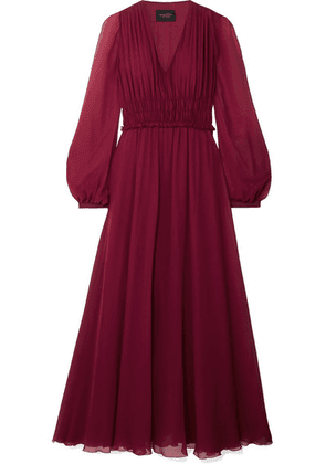 Giambattista Valli - Gathered Silk-chiffon Midi Dress - Burgundy