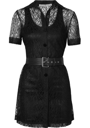 Alexander Wang - Belted Lace Mini Dress - Black