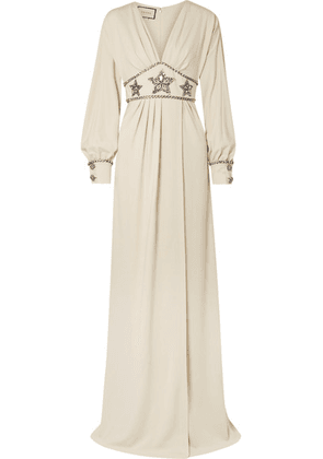 Gucci - Crystal-embellished Wrap-effect Georgette Gown - Ivory