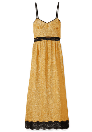Gucci - Lace-trimmed Lamé Maxi Dress - Gold