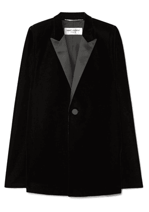 Saint Laurent - Satin-trimmed Velvet Cape - Black