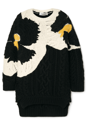 Valentino - Oversized Embroidered Cable-knit Wool Sweater - Black