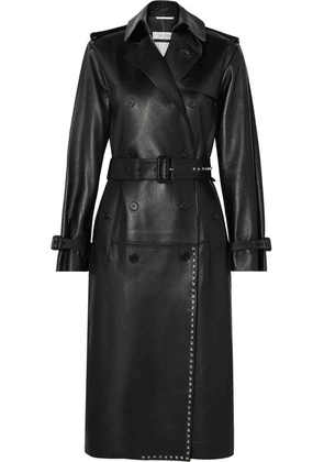 Valentino - Studded Leather Trench Coat - Black