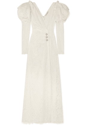 Alessandra Rich - Crystal-embellished Cotton-blend Lace Gown - Off-white