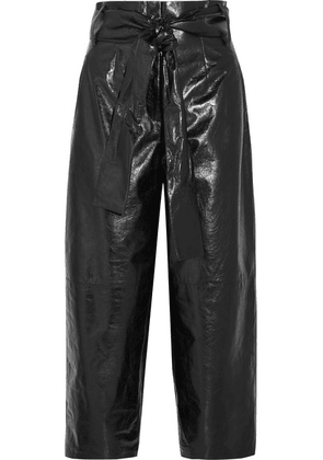 Valentino - Glossed Textured-leather Culottes - Black
