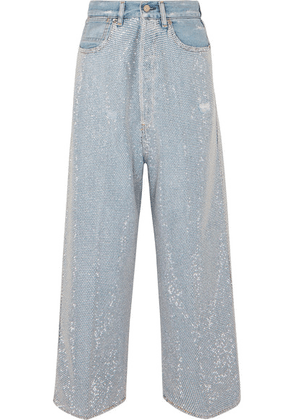 Golden Goose Deluxe Brand - Breezy Cropped Studded High-rise Wide-leg Jeans - Mid denim