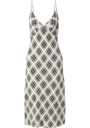 Marc Jacobs - Plaid Silk-crepe Midi Dress - White