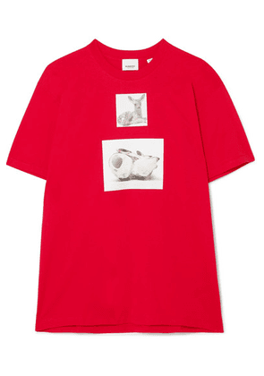 Burberry - Oversized Printed Cotton-jersey T-shirt - Red