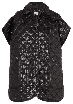 Burberry - Appliquéd Quilted Glossed-shell Cape - Black