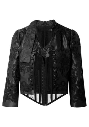 Dolce & Gabbana - Cropped Layered Stretch-tulle And Embroidered Silk-blend Taffeta Jacket - Black