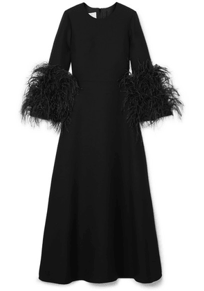 Valentino - Feather-trimmed Wool And Silk-blend Maxi Dress - Black