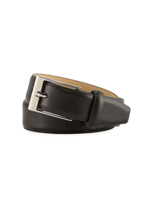 Boys' Faux-Leather Dress Belt, Black, S-L