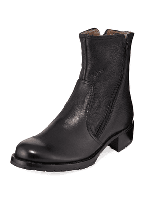 Two Zipper Leather Booties