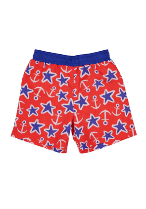 Anchor Star-Print Swim Trunks, Size 2-4T