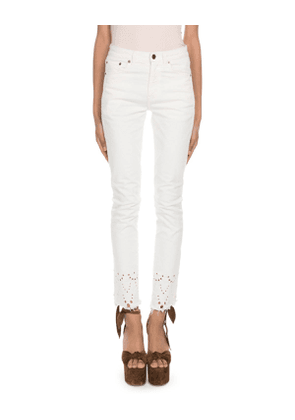 Straight-Fit Eyelet Embroidered-Hem Jeans