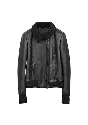 Women's Black Leather And Mix Media Jacket