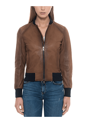 Brown Leather Women's Bomber Jacket