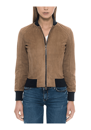 Brown Suede Women's Bomber Jacket