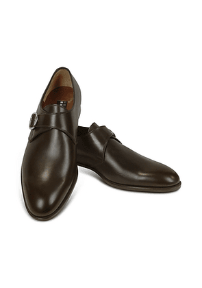 Dark Brown Calf Leather Monk Strap Shoes