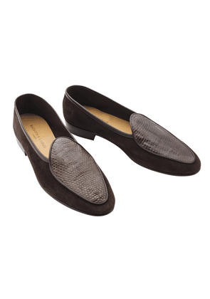 Baudoin & Lange Chocolate Brown Lizard Loafers