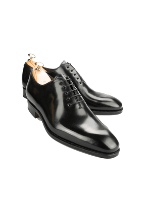 Black Wholecut Cordovan Leather Oxford Shoes