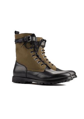 Barbanera Black and Khaki Leather and Canvas Boots
