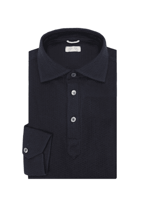 G. Inglese Navy Blue Long Sleeve Polo Shirt