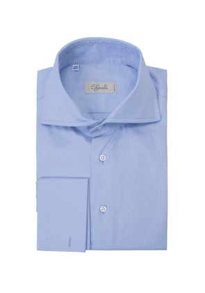 Blue Spread Collar French Cuff Cotton Shirt