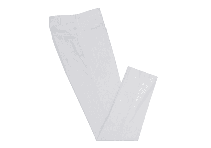 White Straight Leg Cotton Trousers