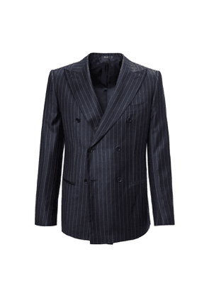 Blue Pinstripe Double-Breasted Two Piece Wool Suit