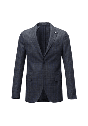 Dark Grey and Blue Check Wool Two Piece Suit