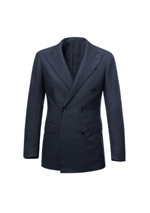 Navy Calm Twist Double-Breasted Wool Suit