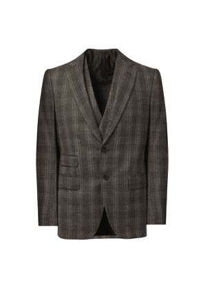 Grey Wool and Cashmere Windowpane Check Three Piece Suit